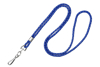 """Picture of 1/8"""" Round Cord - Metallic Silver mixed with your choice of Black, Royal Blue, Navy Blue, Red or Purple - 36"""" Lanyard with Nickel Plated Steel Swivel Hook."""